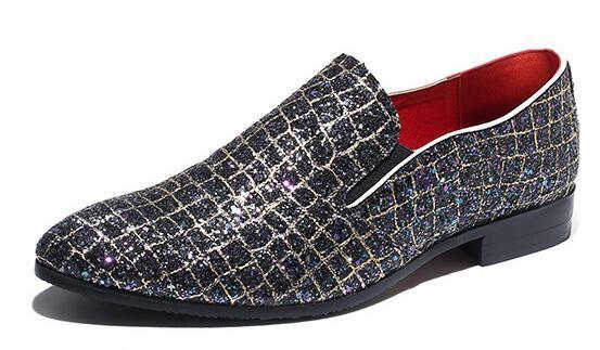 Nuove scarpe da uomo in pelle da cerimonia con spalline formali scintillanti Scarpe da lavoro con tacco basso traspirante piatto traspirante tacco alto