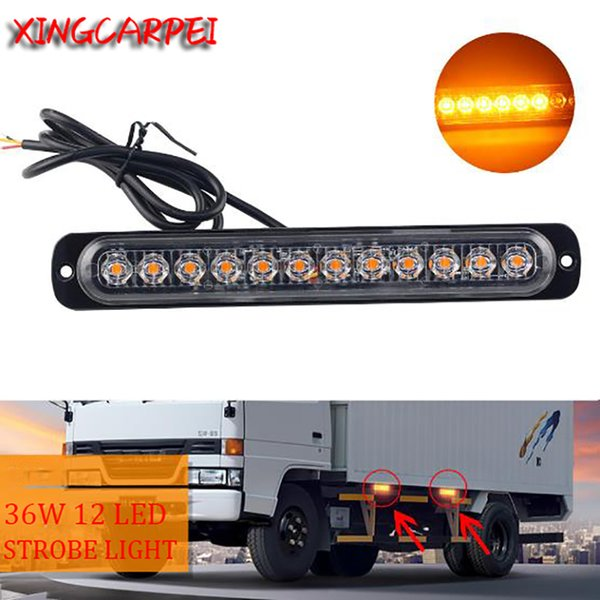 12v/24v Car Trunk Strobe Warning Light 12 LED Ultra-thin Emergency Side Strobe Flashing Light 36W Auto Red Bule Yellow