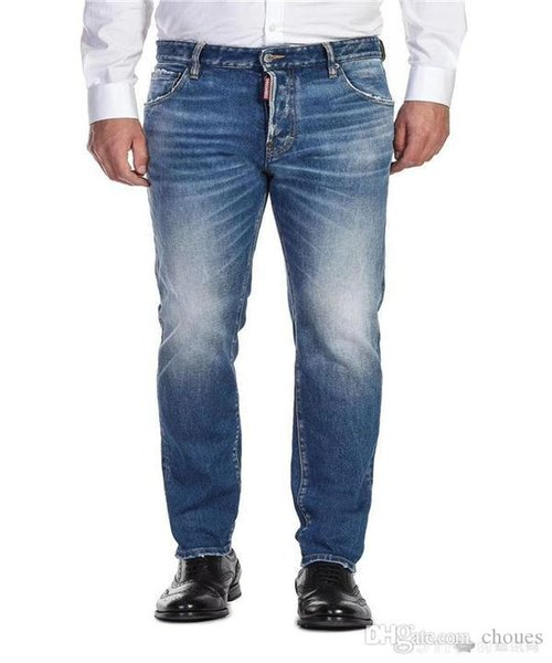 top popular 2019 New FAMOUS Fashion Designer Distressed Ripped mens Jeans Motorcycle Biker Jeans Causal HOLE Denim Pants Streetwear mens Jeans 2019