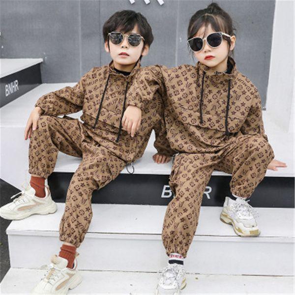 Çocuklar Tam Harf Pantolon İki Adet Kıyafetler Lüks Marka Çocuk Eşofman 160cm Giyim Seti Uzun Kollu Hoodie Kazak + Pantolon yazdır