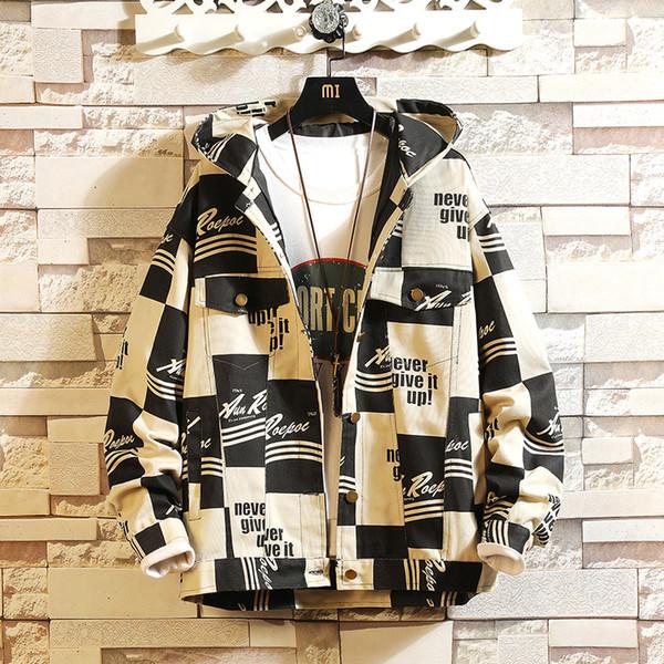 ZOGAA 2019 Neue Frühling Herbst MODE Ins Plaid Brief Druck Werkzeug Jacke Männer Große Größe M-5XL Lose Japanische Flut Jacke