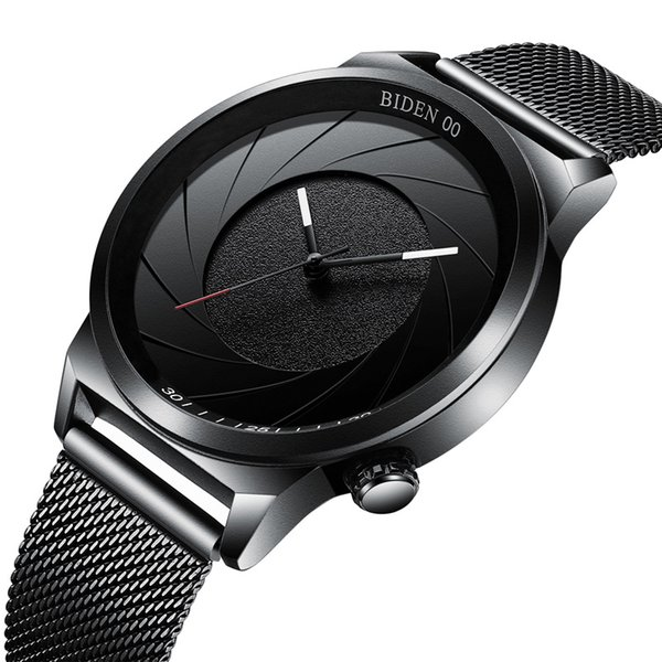 Relogio Masculino All Black New Fashion Quartz Watches Japanese Movement Watches For Men Mesh Stainless Steel business Wristwatches Gift