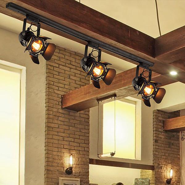 Vintage E27 Track Light Loft Industrial Spotlight Rail Light Black Track Lamp for barn door Clothes Store Shop Lighting Fixtures