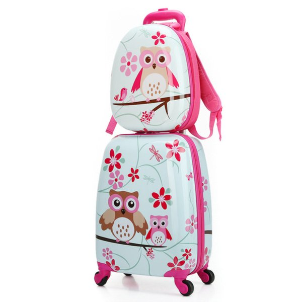 ABS+PC artoon Cute Animal Kids Rolling Luggage Set Spinner Children Suitcases Wheel Trolley Travel Bag Student Carry On Trunk