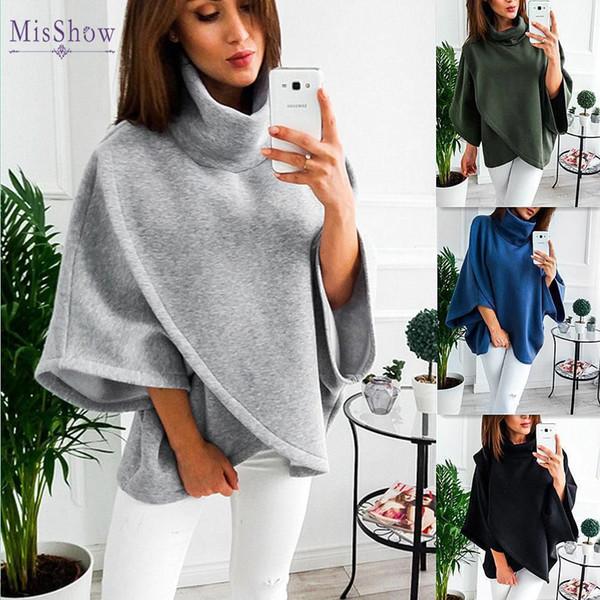 Blusas das mulheres Jaqueta De Gola Alta grossa de lã xale Capa manto feminino Senhoras Moda Casual Outono Inverno Solto Casaco