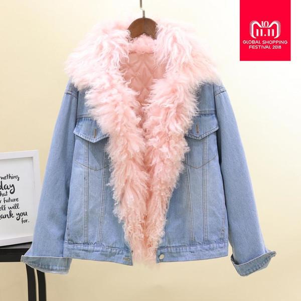Fourrure véritable patchwork denim épaissir parkas manteaux femme manches longues lâche chaud hiver nouveaux manteaux vestes outerwaer gx1554