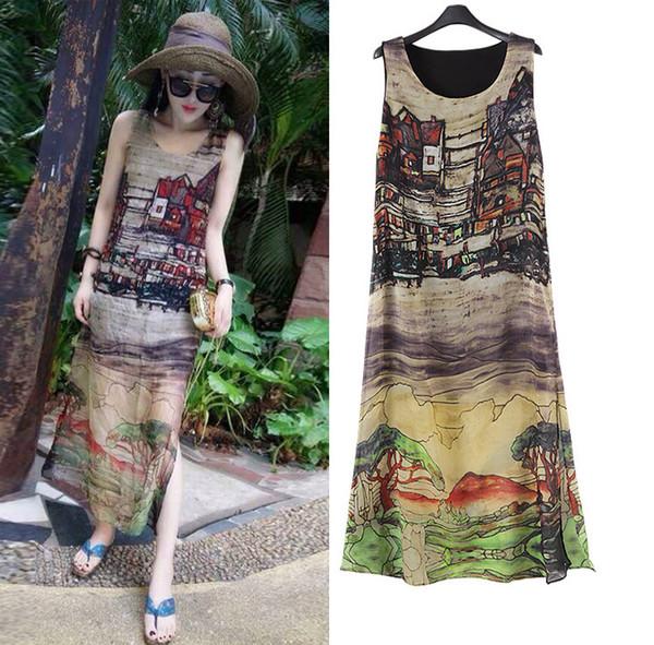 Loose Boho Maxi Summer Dress Plus Size Dresses For Women Print Sleeveless Chiffon Long Beach Dress Vestidos Robe Femme designer clothes