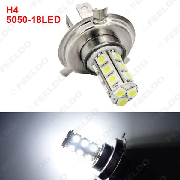 LEEWA toptan Beyaz Araba H4 5050 SMD 18LED Ampul Sis Işın Işık Lambası LED Far # 2094