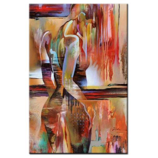 Ritratto di donna nuda moderna dipinta a mano Pittura a olio su tela rosso arancione Moda astratta RAGAZZE nude Immagini per Soggiorno