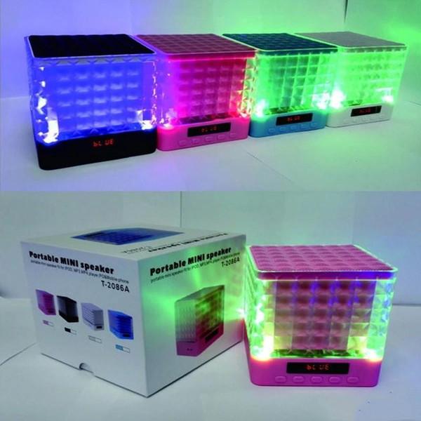 Crystal T-2086A LED Light Flash FM Radio Bluetooth Speaker Square Shape Portable Wirelss Subwoofer Handsfree MIC Music Player Soundbox