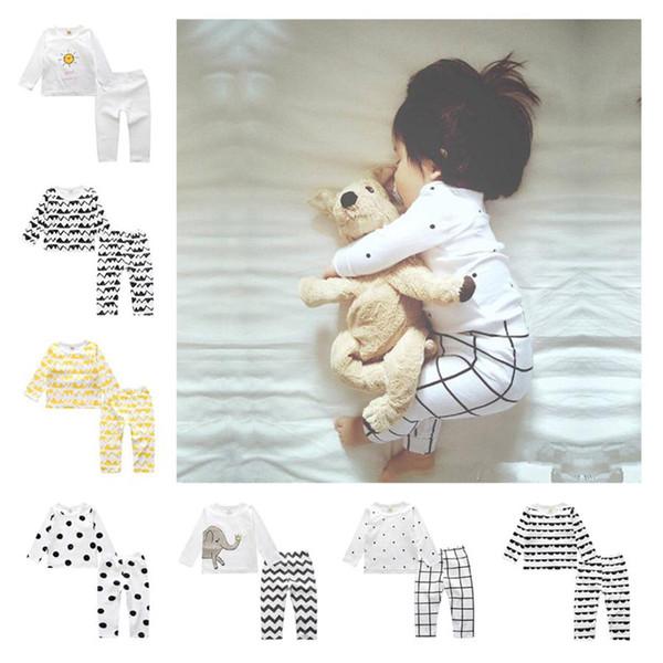 Ropa niños que comience el invierno casual punto impreso camisetas Pantalones pijamas de dos piezas Conjunto de niños de diseño de ropa de la niña de ropa 12M-3T RRA1941