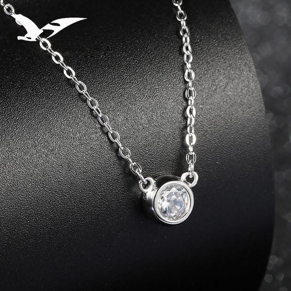 925 pure silver necklace women's Korean fashion set diamond pendant short clavicle chain simple ornaments