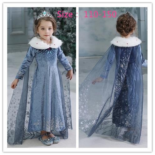 Bébés filles robe d'hiver enfants congelés Princesse Robes enfants Costume Party Halloween Cosplay Vêtements 001 MDT