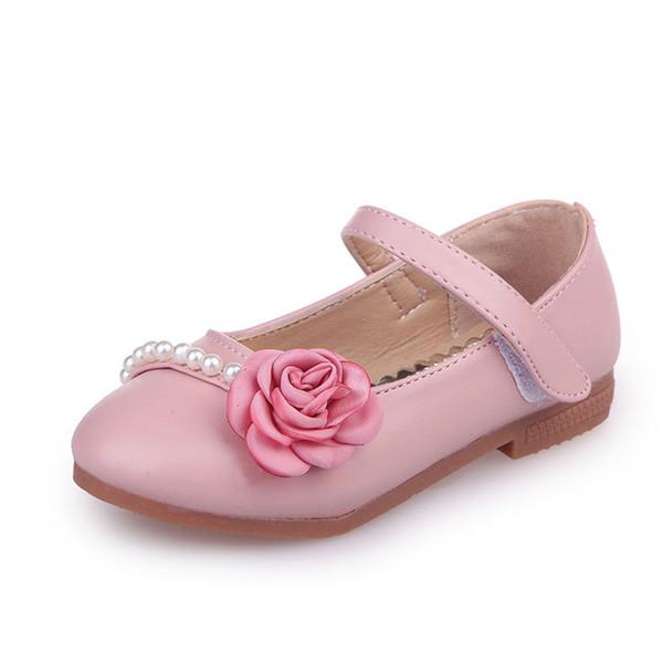 JGVIKOTO 2019 Scarpe floreali per ragazze Scuola Studenti Appartamenti per bambini Morbida principessa Dolce abito da sposa Scarpe in pelle Fiore Perline di perle
