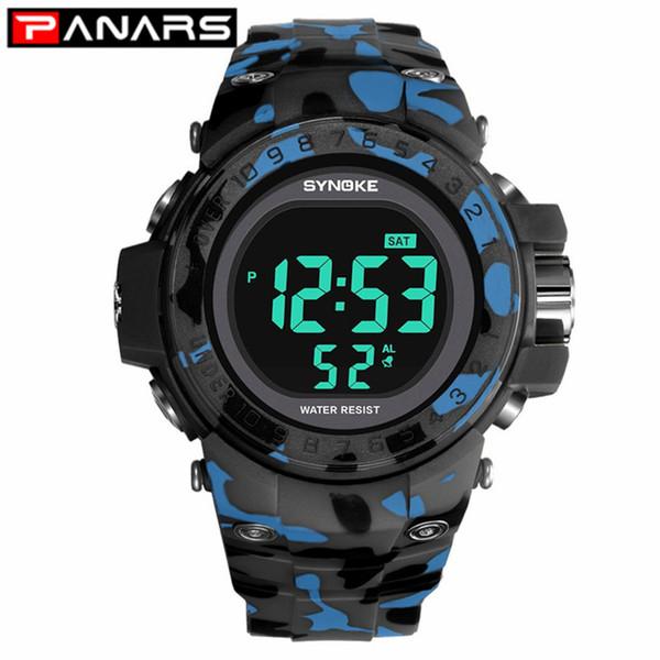 PANARS Klassische Camouflage Outdoor Sport Herrenuhr Multifunktionsuhr für Männer Alarm EL-Leuchten LED-Digital-Armbanduhr Männlich