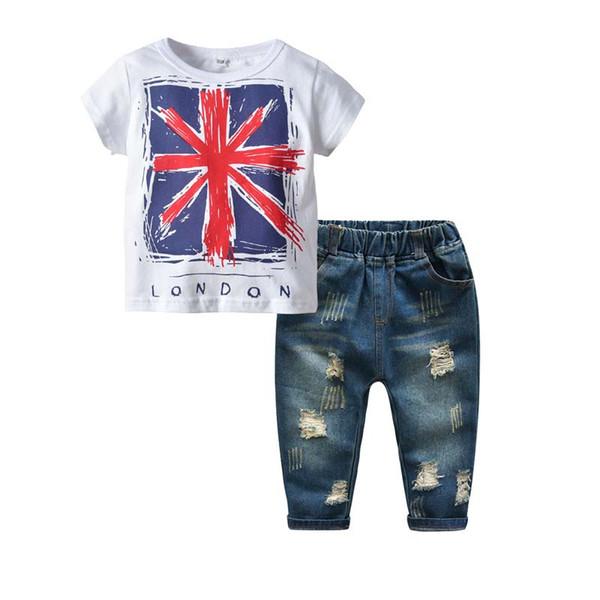 Summer kids designer clothes Boys Clothing Sets short sleeve Boys T Shirts+Jans Kids Sets childrens boutique clothing Children Suit A2445