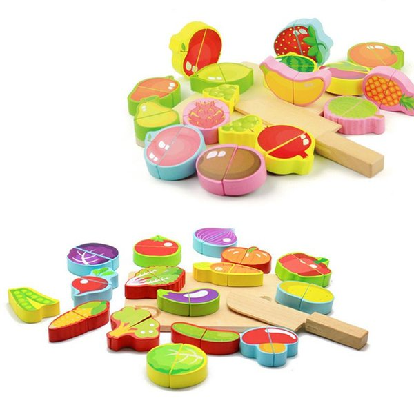 Pretend Play Plastic Wooden Toy Cutting Fruit Vegetable Food Pretend Play Cutting Games Model Toys For Children Birthday Gift
