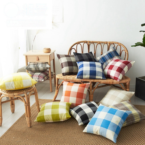 best selling Cushion Covers Plaid Throw Pillow Case Linen Decorative Pillowcase Sofa Couch Cushion Cover Bedding Supplies 14 Designs 20pcs DW4525