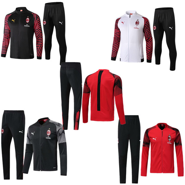2019 AC Milan Tracksuit Jackets Sportswear Set 1819 Maillot De Foot Mens Tracksuits AC Milan Soccer Jackets Long Sleeve+Pants Set Clothing From