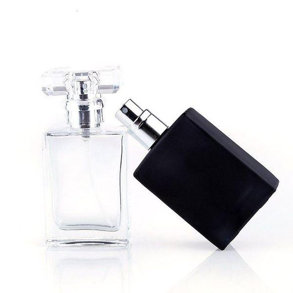 Venta al por mayor caliente 30 ML portátil transparente de vidrio negro botellas de spray de perfume con atomizador de aluminio envases cosméticos vacíos
