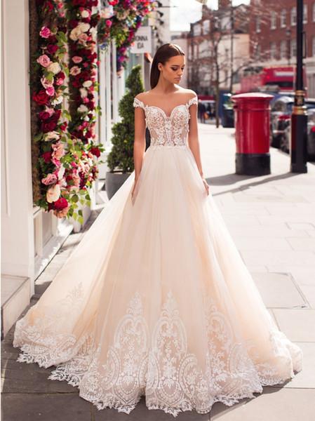 Sheer Short Sleeves A-Line Wedding Dresses Tulle Bridal Gowns 2020 Formal Long Vestidos De Marriage Gorgeous Plus Size Robe De Mariee