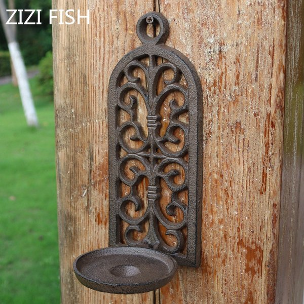 Cast Iron Arch Hollow Wall Hanging Candlestick Candle Holders Retro Decorations Courtyard Home Pendants Garden Decoration Sh190924 Candle Holder Wall