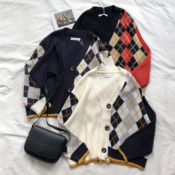 3 colors 2019 spring and autumn korean style color patchwork V neck plaid knittd cardigans womens sweaters womens (X180) DT191024