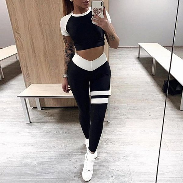Sports Wear for Wome Workout Clothes Two Piece Set Black White Patchwork Short Sleeve Sexy Fitness Yoga Sport Gym Jumpsuit 30 #869576