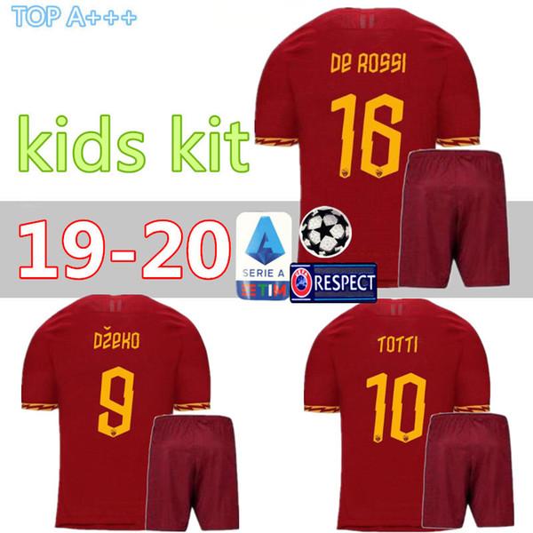 1095b3d59 2019 AS Roma KIDS Soccer Jerseys BOY EL SHAARAWY TOTTI DZEKO PEROTTI DE  ROSSI JESUS PASTORE