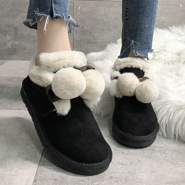 size 35-51 nice new soft ankle boots women winter fur balls warm shoes woman platform heels college girls casual snow boot, Black