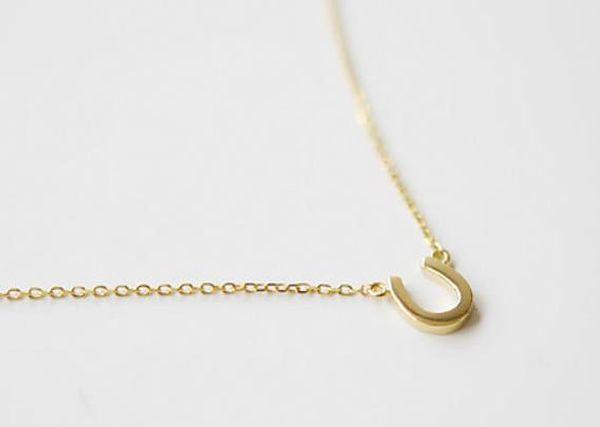 30 U shaped alphabet necklace Letter U Pendant Horseshoe Geometry Curved Half Garden Pendant Necklace Fashion Lucky Women Jewelry I Love You