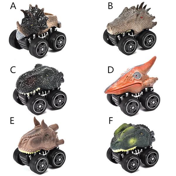 top popular 6 Styles Dinosaur Shaped pull-back vehicles 8x10cm kids pull back cartoon animal cars toys plastic wind up car model toys 2020