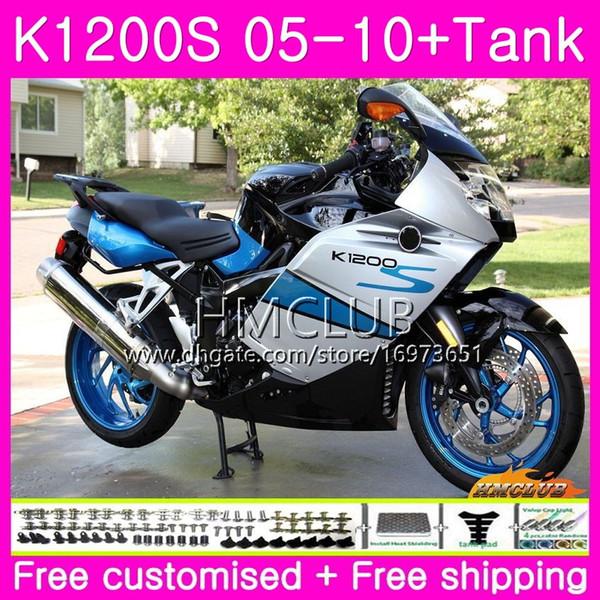 Body+Tank For BMW K1200 S K 1200 S K1200S 05 06 07 08 09 10 Kit 30HM.12 K-1200S K 1200S 2005 2006 2007 2008 2009 2010 White Blue Fairing