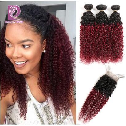 1B / Bourgogne brésilien Kinky bouclés Bundles de cheveux avec fermeture 99J Ombre faisceaux avec fermeture Red Remy Extensions