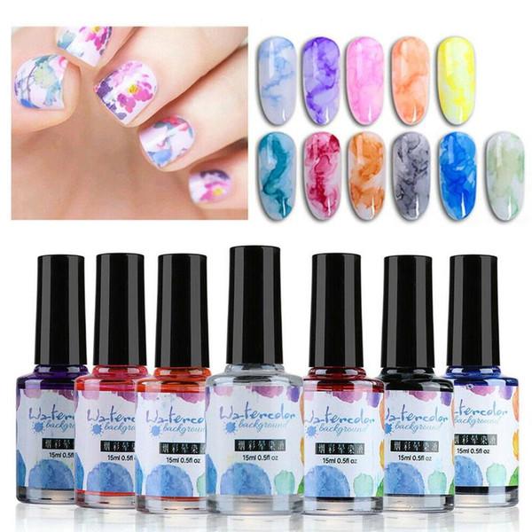 15 мл чернил Акварели капли для ногтей Цветущий гель дыма Эффект акварельной капли лака для ногтей Diy лак для маникюра Nail Art Decor