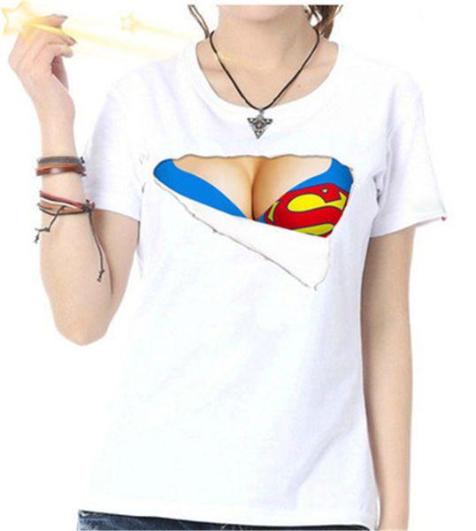 Big Breasted camiseta femenina Gran cuello redondo Sujetador de la mujer camiseta Discoteca Fiesta Leche desgarrada Algodón Manga corta
