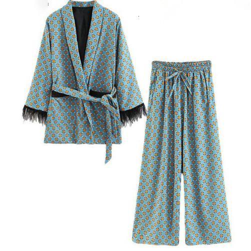 Tüy Kollu Geniş Bacak Pantolon İki Adet Vintage Giyim Suits ile Kadın Düşük Suits 2019 Yeni Geliş Mavi Baskılı Kimono Ceket