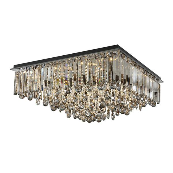New dimmable rectangular crystal ceiling chandelier lighting modern smoky gray flush mount chandeliers lights for villa living room bedroom