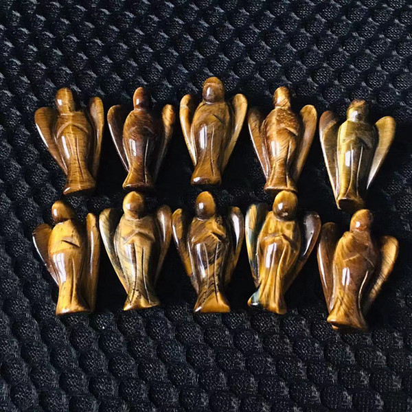 Free Shipping 10pcs Natural Tiger Eye Quartz Crystal Angel Figurine Healing Aura Angel Reiki Sculpture for Home Desk Decoration Crafts Gift