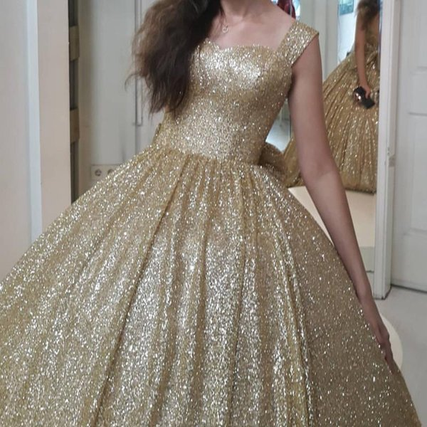 Modern Gold Sequin Ball Gown Quinceanera Prom Dresses Cheap Square Neck Backless Big Bows Floor length Sweet 16 Party Dress Long