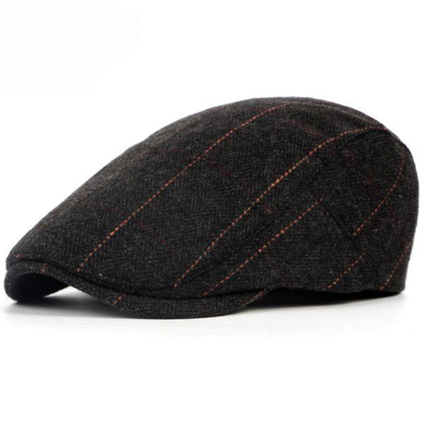 Winter Vintage Berets Caps For Women Men French Casual Beret Hat Artist Flat Cap Woolen Baret England British Striped Hats Caps