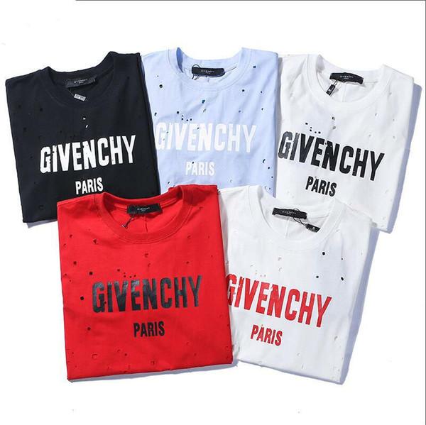 19 Neue patternHighquality Fashion Damen T-Shirt Kurzarm T-Shirt gedruckt Männer und Frauen Persönlichkeit Printing Löcher Promi-T-Shirts