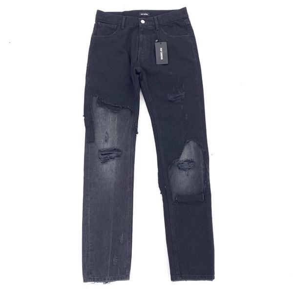 RAF SIMMONS Eklenmiş Jeans Erkekler Kadınlar Çift Moda Gevşek Pantolon Günlük Steat Pantolon Jean Baskılı Hide Deri Kart Siyah KHLKZ033 Ripped