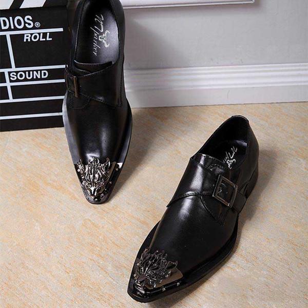 Grandes tailles 45/46! Chaussures habillées pour hommes en cuir noir Chaussures pour hommes Chaussures italiennes à enfiler italiennes Chaussures noires Zapatos Hombre