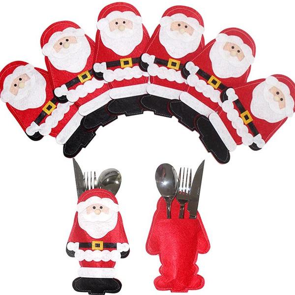 Noel Noel Baba Çorabı Çanta Sofra Bıçak Çatal Tutucu Noel Baba Noel Dekorasyon Parti Malzemeleri