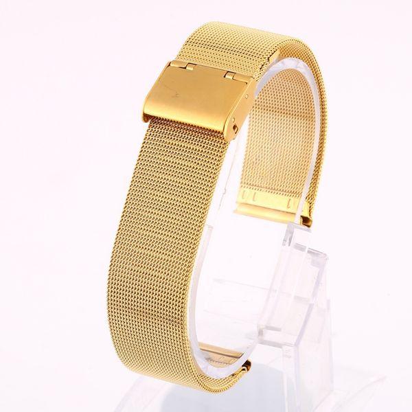 *12-24mm Women Men Stainless Steel Metal Milanese Watchband Watch Band Strap Bracelet Black Rose Gold Silver Watch Accessories*