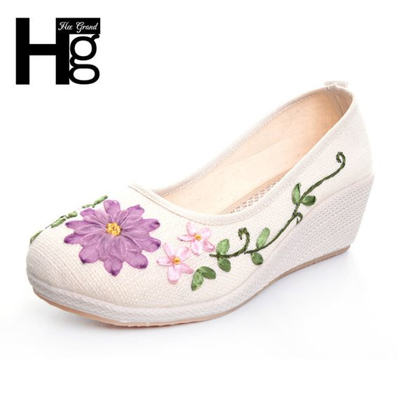 Designer Dress Shoes HEE GRAND Plus Size 35-40 Women Wedge Round Toe Beautiful Manual Flower Rubber Sole for Woman XWD5300