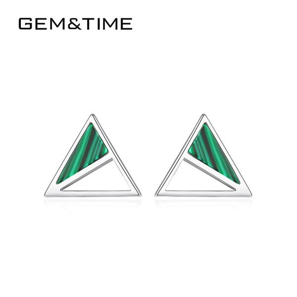 GemTime Minimalism Malakit Üçgen Stud Küpe Chram Som 925 gümüş küpe retor Hollow Takı SE0426