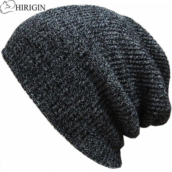 HIRIGIN 2017 Sonbahar Kış Erkek Kadın Slouch Kafatası Cap Oversize Uzun Beanie Baghee Cap Crochet Bere Kayak Şapka