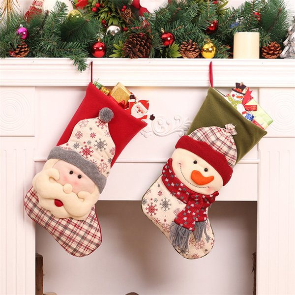 3pcs Santa Claus+Snowman+Elk Christmas Stockings Kids Gift Candy Bag Christmas Decorations for Tree Door Wall Hanging Ornaments